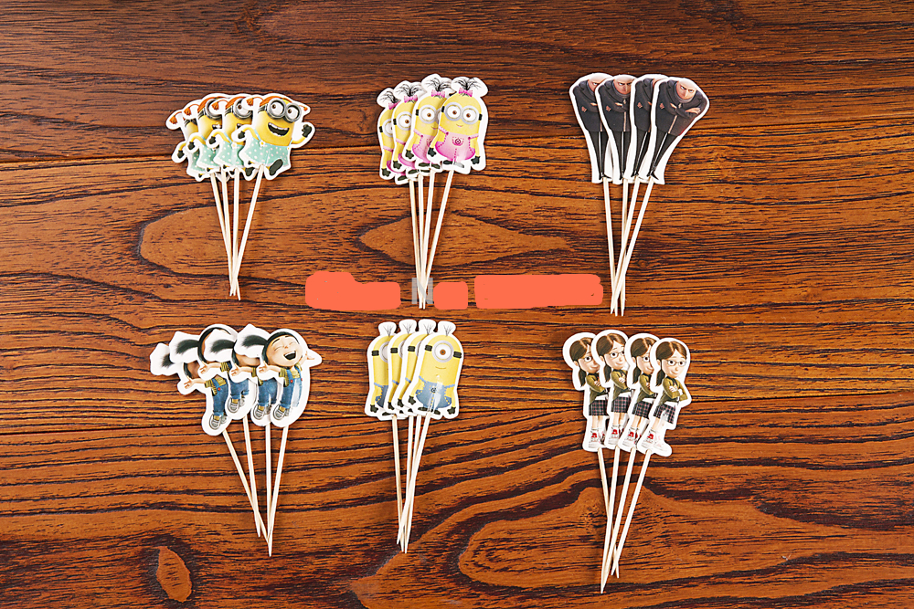 72pcs Despicable Me Gru minion Cupcake Topper Picks,birthday/wedding party decorations,kids evnent party favors,Party decoration
