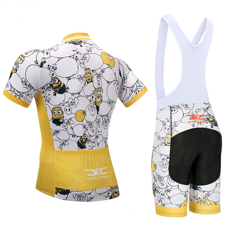 Crossrider 2018 Minions Men's Cartoon Cycling Jersey MTB Clothing Short bib Sets Ropa Ciclismo Bike Wear Clothes Maillot Culotte