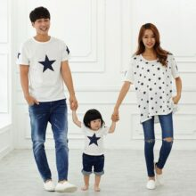 Family Matching Outfits T-Shirts With Star Prints