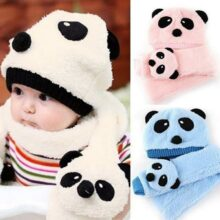 Girl's Panda Warm Hat And Scarf Set